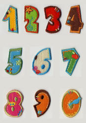 Coloured Iron On Number Motifs